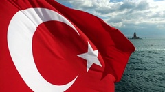 Waving Turkish Flag and Maiden's Tower at Backround 4K Video Stock Footage