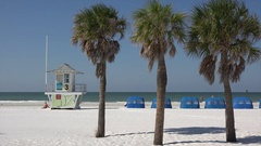 Beach hut or station, Clearwater, Florida, USA Stock Footage