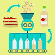 Apple juice fabrication process Stock Illustration