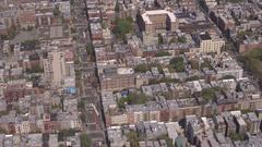 AERIAL: East Village neighborhood in the New York City borough of Manhattan Stock Footage
