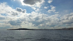 Clouds and Sea 4K Video of Istanbul Bosphorus Stock Footage