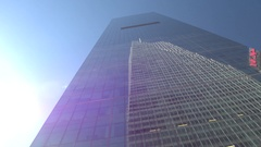 CLOSE UP: Reflection of One World Trade Center in giant glassy skyscraper Stock Footage