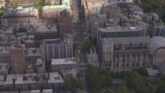 AERIAL: Buildings in East Village neighborhood of New York City on sunny day Stock Footage