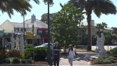 People visit St Armands Circle, Sarasota, Florida, USA Stock Footage
