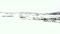 Aerial view of mountains and Dillon Reservoir in the Winter. Stock Footage