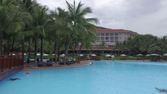 Views of Pool, a Relaxation Area With Umbrellas and Sun Beds at the Hotel Stock Footage