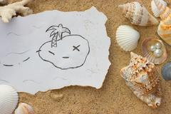 Shell and map background Stock Photos