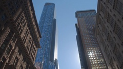 CLOSE UP: Old and contemporary buildings, glassy skyscrapers and block of flats Stock Footage