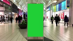 Green billboard for your ad inside Coquitlam shopping mall Stock Footage