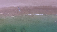 Aerial View of the Clean Sandy Beach With Jet Ski and Kayak Stock Footage