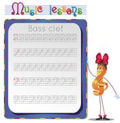 Draw a bass clef. Stock Illustration