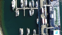 Birds Eye view looking down over ships at Bay 4K Stock Footage