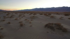 Sand Dunes Aerial Shot of Sunset Mojave Desert near Death Valley Stock Footage