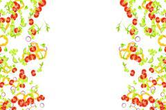Frame of fresh salad ingredients falling down on white background, mediterr.. Stock Illustration