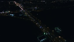 4K Aerial. Over Night City  cars traffic highway with fires. Back fly Stock Footage