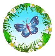 Butterfly in a clearing  Stock Illustration