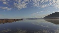 Air Boat Flight across lake at wildlife refuge Stock Footage