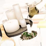 Spa still life with burning candles. Stock Illustration