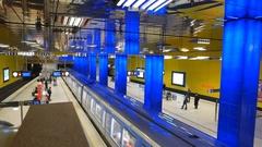 4K Timelapse Germany Munich Münchener Freiheit metro subway station train Stock Footage