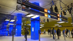 4K Germany Munich Münchener Freiheit metro subway station train commuters Stock Footage