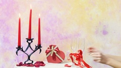 A young woman served champagne glasses on Valentines day table decoration Stock Footage