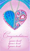 Congratulations card as heart of gems Stock Illustration