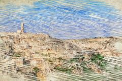 Panoramic view of typical stones (Sassi di Matera) and church of Matera und.. Stock Illustration