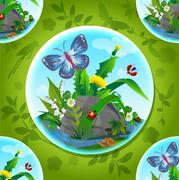 Beautiful  flowers and insects Stock Illustration