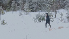 Man Cross-Country Skiing Alone in Nature Stock Footage