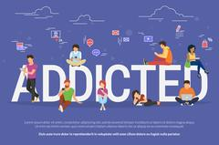 Addicted people concept illustration Stock Illustration