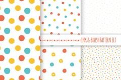 Set of seamless vector free hand multicolored baby doodle polka dot and circle Stock Illustration