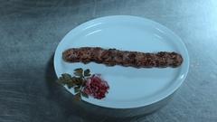 Lula kebab on a plate Stock Footage