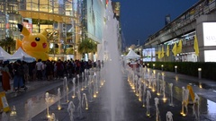 Beautiful water fountain in front of shopping mall Siam Paragon. Stock Footage