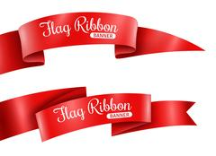 Red Ribbons Banners Set Stock Illustration