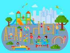 Flat Childrens Playground Composition Stock Illustration