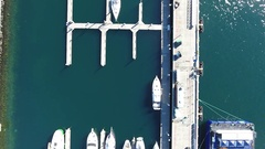 Aerial view of Seattle Dock 4K Stock Footage