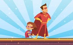 Couple Of Adult And Child Cartoon Superheroes Stock Illustration