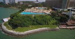 Beach Resorts at Royal Cliff in Pattaya Thailand, Aerial Slider Shot Stock Footage