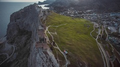 Wall of Genoa Fortress in Sudak Crimea Stock Footage