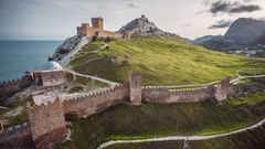 Genoese Fortress Near Sudak, Crimea Stock Footage
