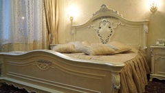 Pompous bedroom in golden shades Stock Footage