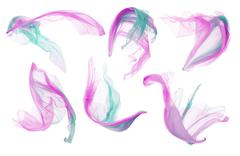 Fabric Cloth, Silk Flying Fluttering on White, Pink Cyan Pieces of Clothes Stock Photos