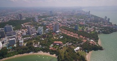 Pattaya and Jomtien Beaches in Thailand, Aerial Drone Shot Stock Footage