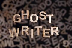 Ghostwriter text in wooden letters Stock Photos