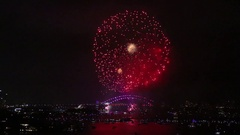 Sydney Harbor Bridge Fireworks and Laser Show, New Years Eve Stock Footage