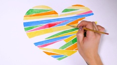 Heart background drawn by watercolors on white background. Valentines day Stock Footage