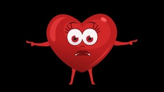 Cartoon Heart with Animated Face. 14th Pose Pointer Bad Double. Alpha Channel Stock Footage