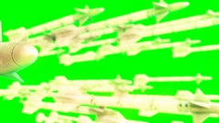 High quality animation of missiles on green screen Stock Footage