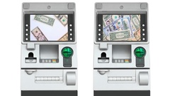 ATM (Automatic Teller Machine) and Dollar Money Blurred On Screen Display (loop) Stock Footage