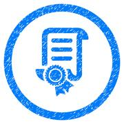 Certified Scroll Document Rounded Icon Rubber Stamp Stock Illustration